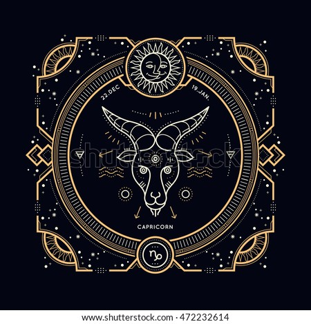 vintage thin line capricorn zodiac sign stock vector
