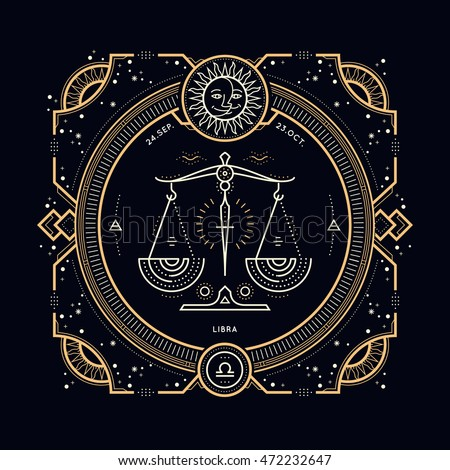 vintage thin line libra zodiac sign stock photo photo vector rh shutterstock com libra logo tattoo libre login