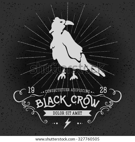 Vintage thin line raven label. Crow symbol. Retro vector design graphic element, badge, emblem, logo, insignia, sign, identity, poster. Stroke hipster illustration with typographic for t-shirt prints. - stock vector