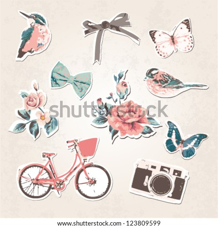 vintage things set-birds,bows,flowers,bike,camera,butterflies on grunge background - stock vector