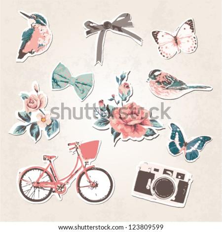 Vintage Things Set Birds,bows,flowers,bike,camera,butterflies On