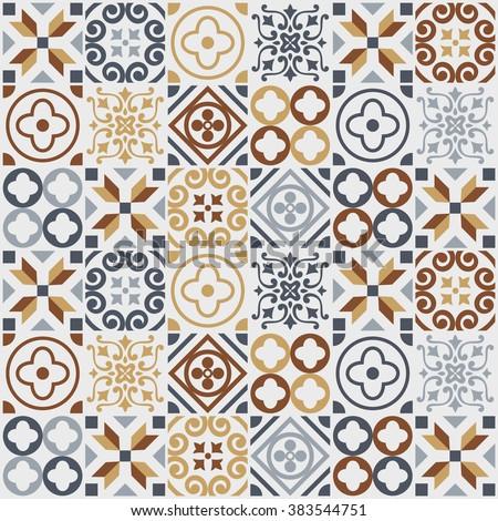 vintage tile pattern. vector illustration - stock vector