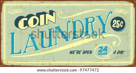 Vintage tin sign - Coin Laundry - Vector EPS10. Vector EPS10. Grunge effects can be easily removed. - stock vector