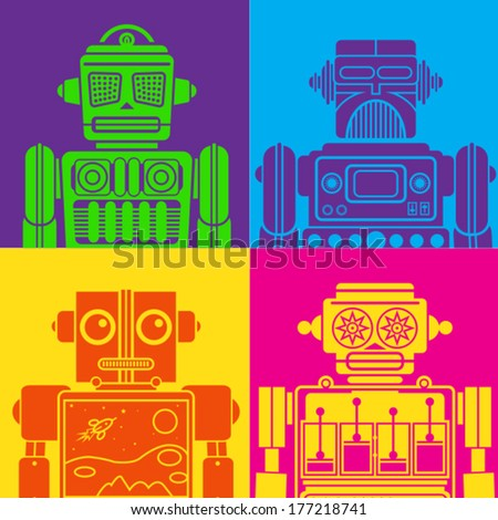 Vintage Tin Toy Robot Pop Art - stock vector