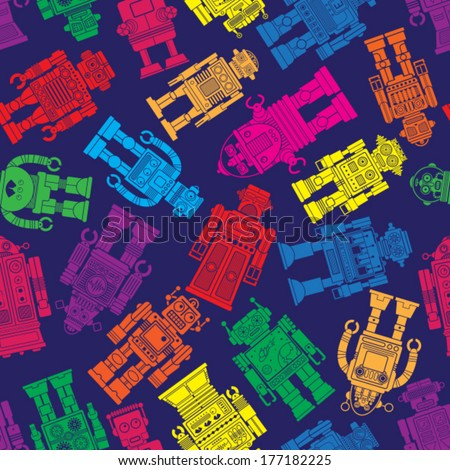 Vintage Tin Toy Robot Seamless Pattern - stock vector