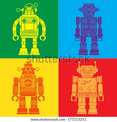 Vintage Tin Toy Robots Pop Art - stock vector
