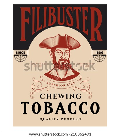 Vintage Tobacco Label with Pirate. - stock vector