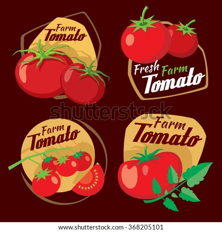 Vintage tomato vector labels, emblems and badges set. Vegetable fresh farm, vector illustration, nature organic product - stock vector