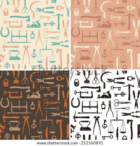 Vintage tools, instruments and equipment seamless pattern in 4 variations vector - stock vector