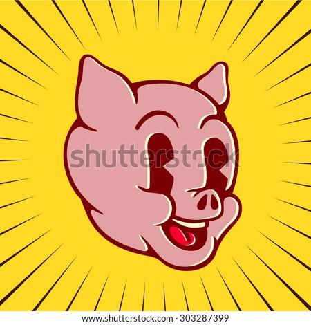 Vintage toons: retro cartoon pig character face, happy smiling piglet pork swine - stock vector