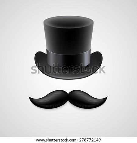 Vintage  top hat, mustaches. Vector illustration EPS 10 - stock vector