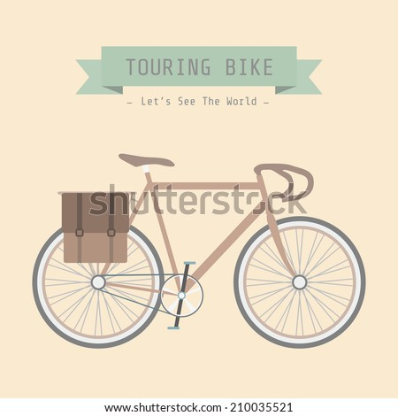 vintage touring bicycle, pastel style - stock vector