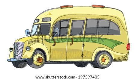 vintage tourist bus - cartoon