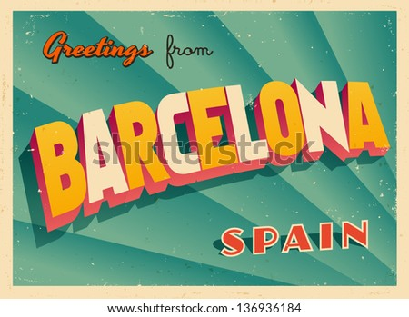 Vintage touristic greeting card barcelona spain stock vector 2018 vintage touristic greeting card barcelona spain vector eps10 grunge effects can be m4hsunfo