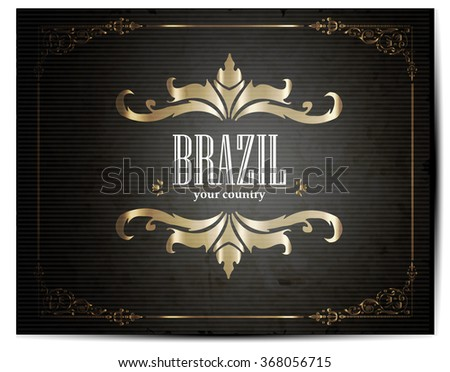 Vintage Touristic Greeting Card - Brazil - Vector - stock vector