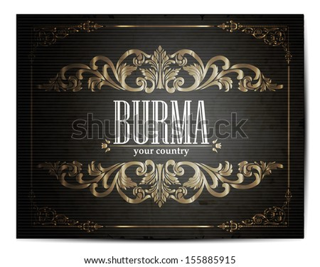 Vintage Touristic Greeting Card -Burma- Vector  - stock vector