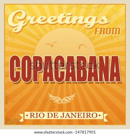 Vintage Touristic Greeting Card - Copacabana, Rio de Janeiro, vector illustration - stock vector