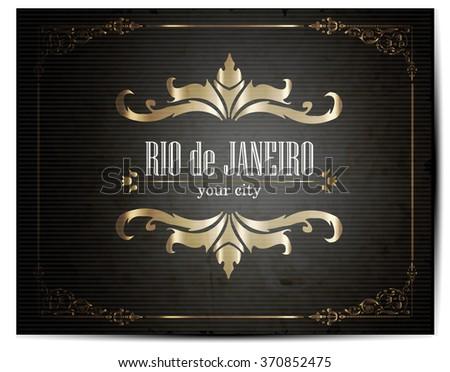 Vintage Touristic Greeting Card -Rio de Janeiro- Vector - stock vector