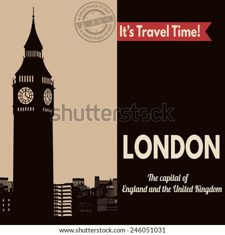 Vintage touristic poster with London in vintage style, vector illustration  - stock vector