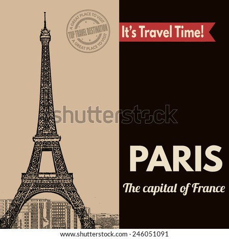Vintage touristic poster with Paris in vintage style, vector illustration  - stock vector