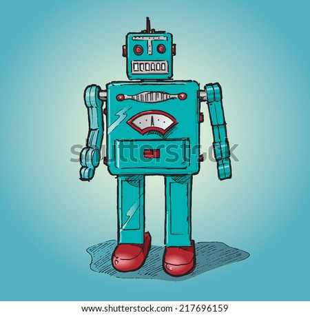 Vintage toy robot. Hand drawn isolated color vector sketch on blue background.