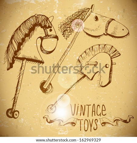 Vintage Toys, Wooden Rocking Horses hand drawn vintage toys  - stock vector