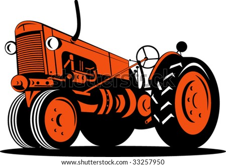 Vintage tractor isolated on white background