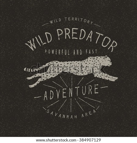 Vintage trademark with cheetah .Grunge effect.Typography design for t-shirts  - stock vector