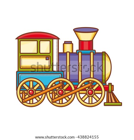 Vintage train. Children's toy. Christmas decorations.  - stock vector