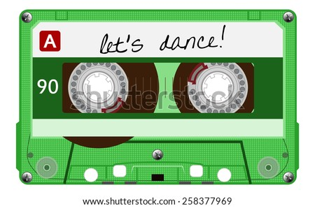 Vintage transparent audio cassette. Green color music cassette tape with text - let's dance, old technology, realistic retro design. vector art image illustration, isolated on white background, eps10 - stock vector