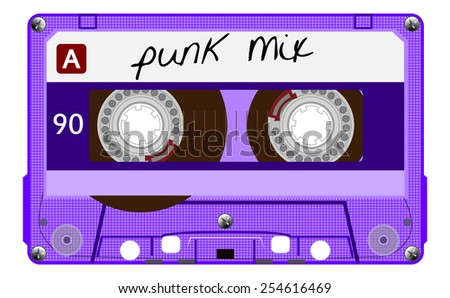 Vintage transparent audio cassette. Purple music compact cassette tape with text - punk mix, old technology, realistic retro design. vector art image illustration, isolated on white background, eps10 - stock vector