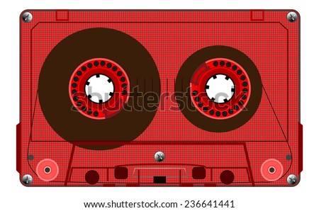 Vintage transparent compact audio cassette. Red music cassette tape, old technology, realistic retro design. vector art image illustration, isolated on white background, eps10 - stock vector