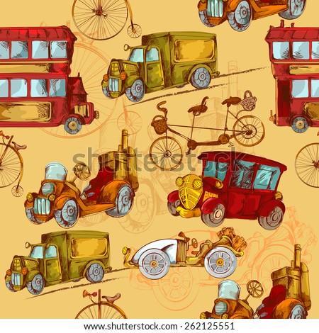 Vintage transport steampunk cars bikes transport colored seamless pattern vector illustration - stock vector