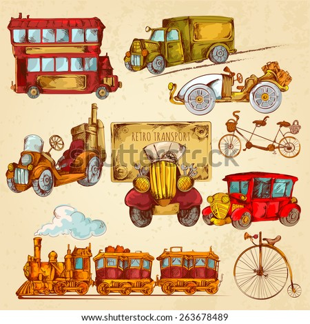 Vintage transport steampunk historical vehicle sketch colored decorative icons set isolated vector illustration - stock vector
