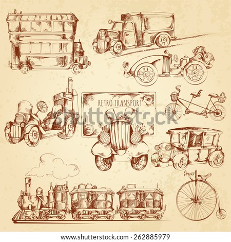 Vintage transport steampunk vehicles sketch decorative icons set isolated vector illustration - stock vector