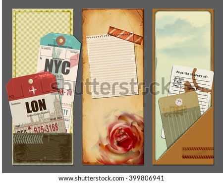Vintage Travel Banners - Set of summer holiday banners with ephemera, luggage travel tags, library card, and scraps of paper, for backgrounds, promotional material, scrapbooks and flyers - stock vector