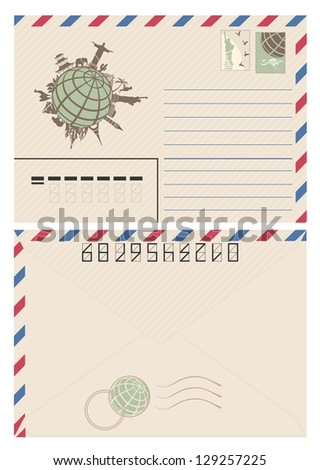 Vintage travel envelope | International airmail envelope with world map picture - stock vector
