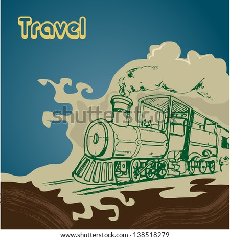 vintage travel illustration with train hand draw - stock vector