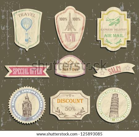 vintage travel labels on old paper - stock vector