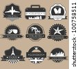 Vintage travel labels silhouette set - stock vector