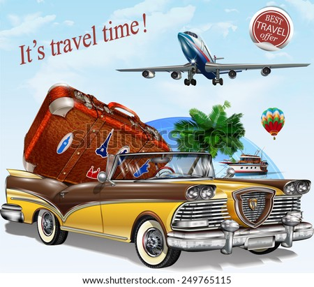 Vintage travel  poster. - stock vector