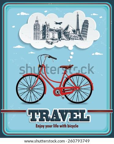 Vintage travel poster design - stock vector