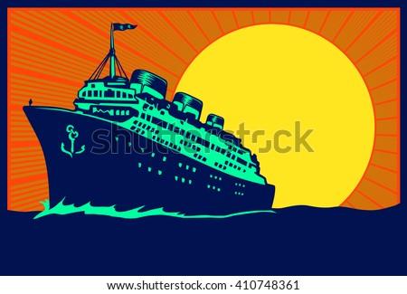Vintage travel poster illustration transatlantic ocean liner cruise ship, retro traveling tourism vector - stock vector