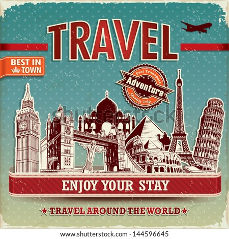 Vintage travel poster with labels and famous building - stock vector