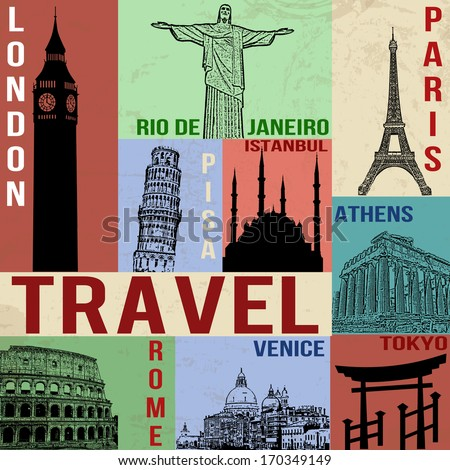 Vintage travel poster with symbols and famous building, vector illustration - stock vector