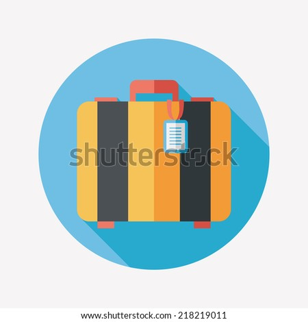 vintage travel suitcases, flat icon with long shadow - stock vector
