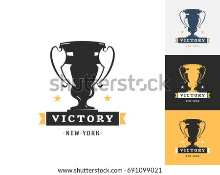 Vintage Trophy Logo Design Template Vector Stock Vector 2018