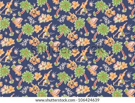 vintage tropical fabric pattern with parrots, fish, flowers, spear fishermen, palm trees - stock vector