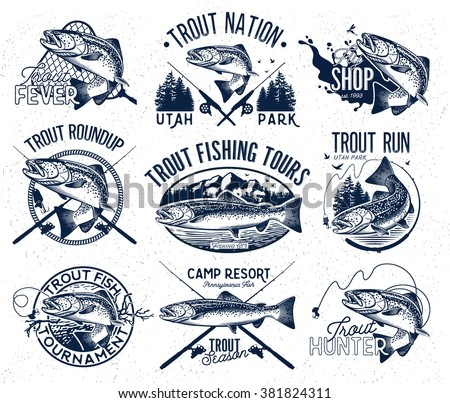 Vintage trout fishing emblems, labels and design elements - stock vector