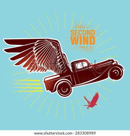 "Vintage truck . Vector illustration created in topic ""Second wind "" - stock vector"